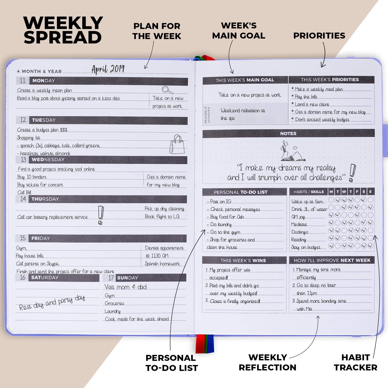Organizador diario//semanal dise/ñado para aumentar la productividad y combatir la propagaci/ón The Procrastinators Planner Planificador de medio a/ño 182 d/ías de tapa dura con ciencia y filosof/ía de procrasti