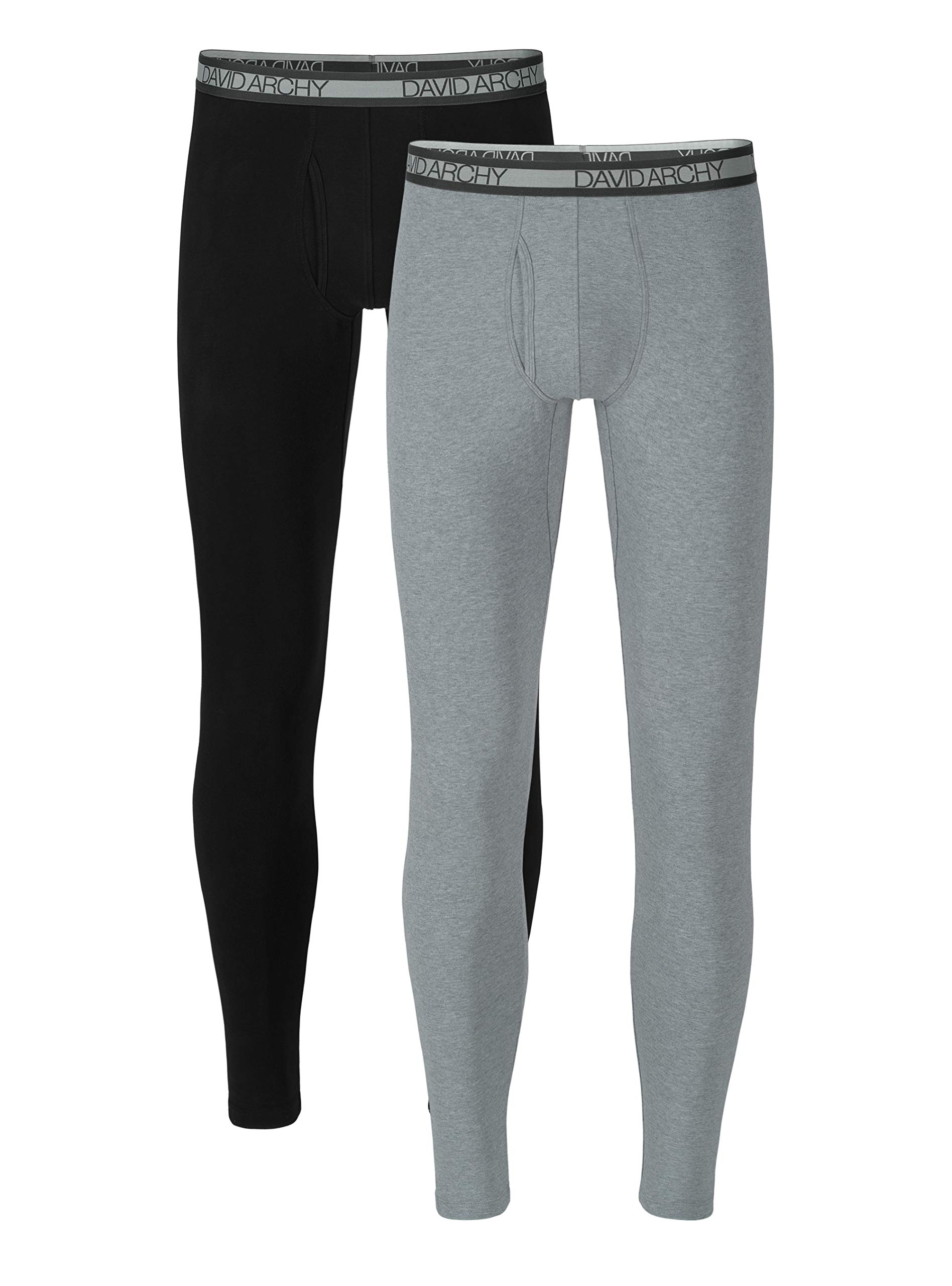 David Archy Men's 2 Pack Winter Warm Stretchy Cotton Fleece Lined Base Layer Pants Thermal Bottoms Long Johns with Fly (M, Black/Heather Light Gray) by David Archy