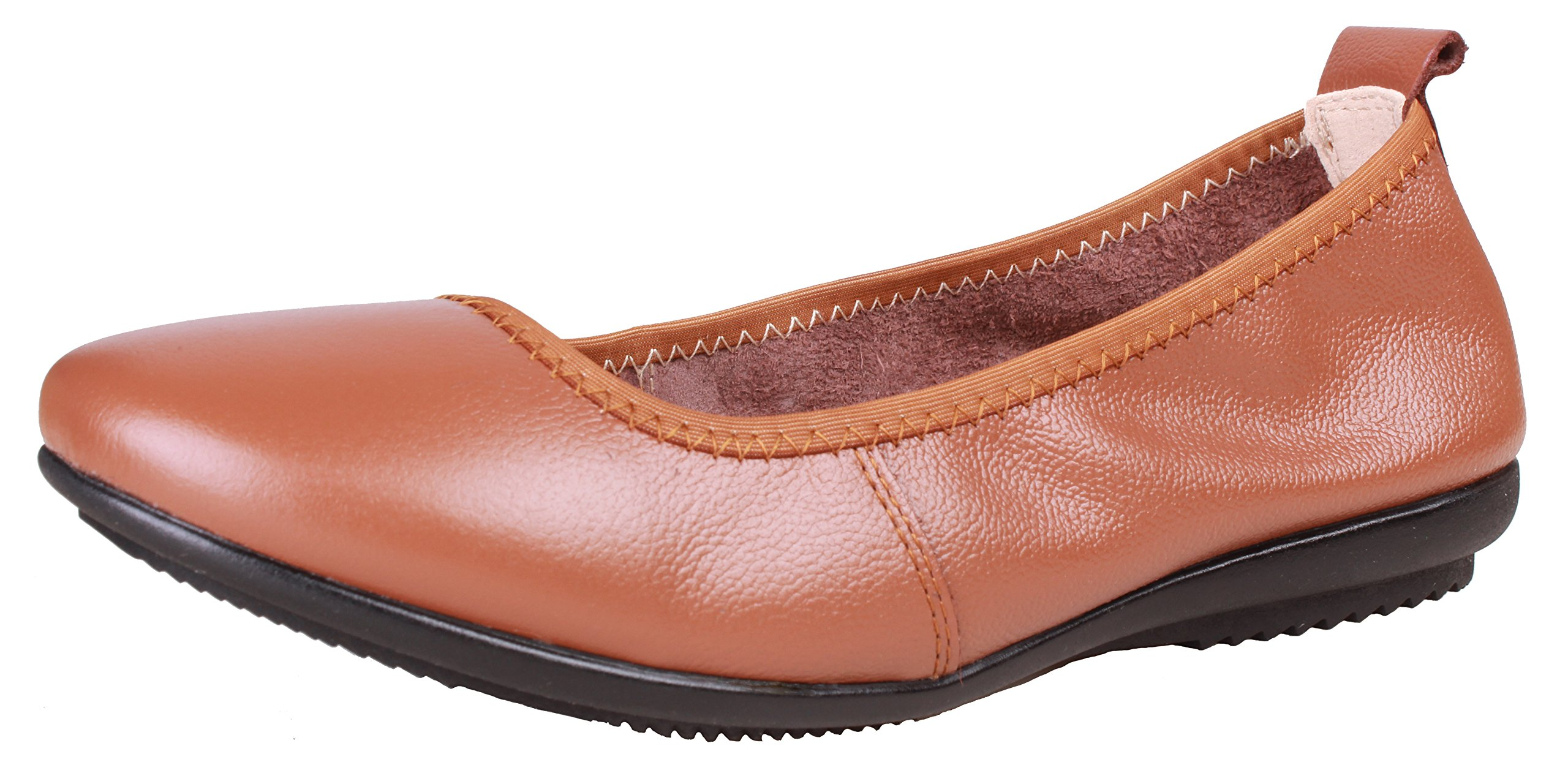 Kunsto Women's Comfort Leather Ballet Flats Shoes US Size 9 Brown