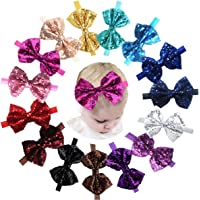 """15pcs Baby Girl Headbands Sparkly Glitter Sequins 4"""" Big Hair Bows Ribbon Soft Stretchy Hair Bands for Infant Newborn and Toddlers"""