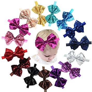 Premium Quality Kids Baby Girl Sequin Lace Bowknot Hair Band Twinkling Headband Navy Blue fast-shop