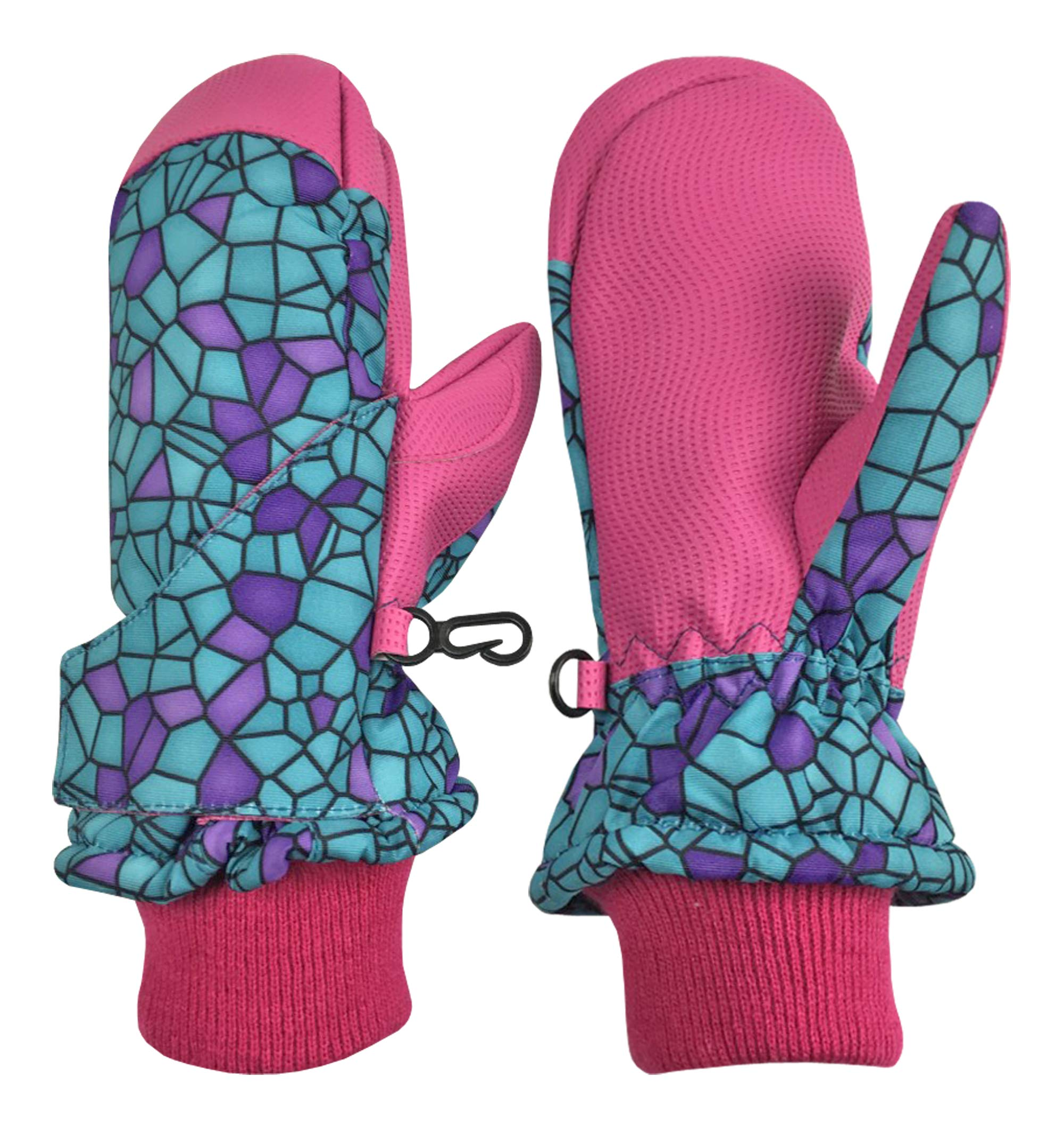 N'Ice Caps Kids and Baby Easy-On Wrap Waterproof Thinsulate Winter Snow Mitten (Turq Shattered Glass, 6-8 Years) by N'Ice Caps