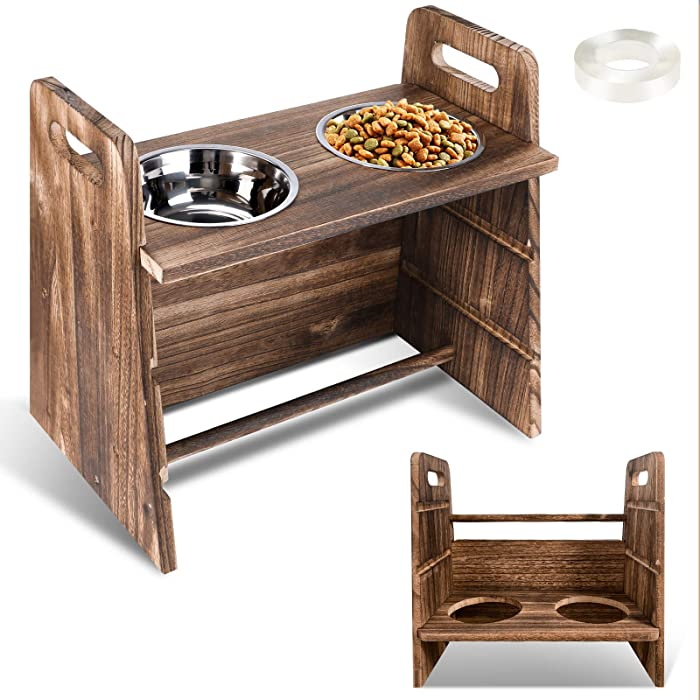 Pet Dog Feeder,Adjustable 3 Heights Wooden Elevated Dog Cat Food and Water Bowls Stand Feeder with 2 Stainless Steel Bowls and Non-Slip Feet