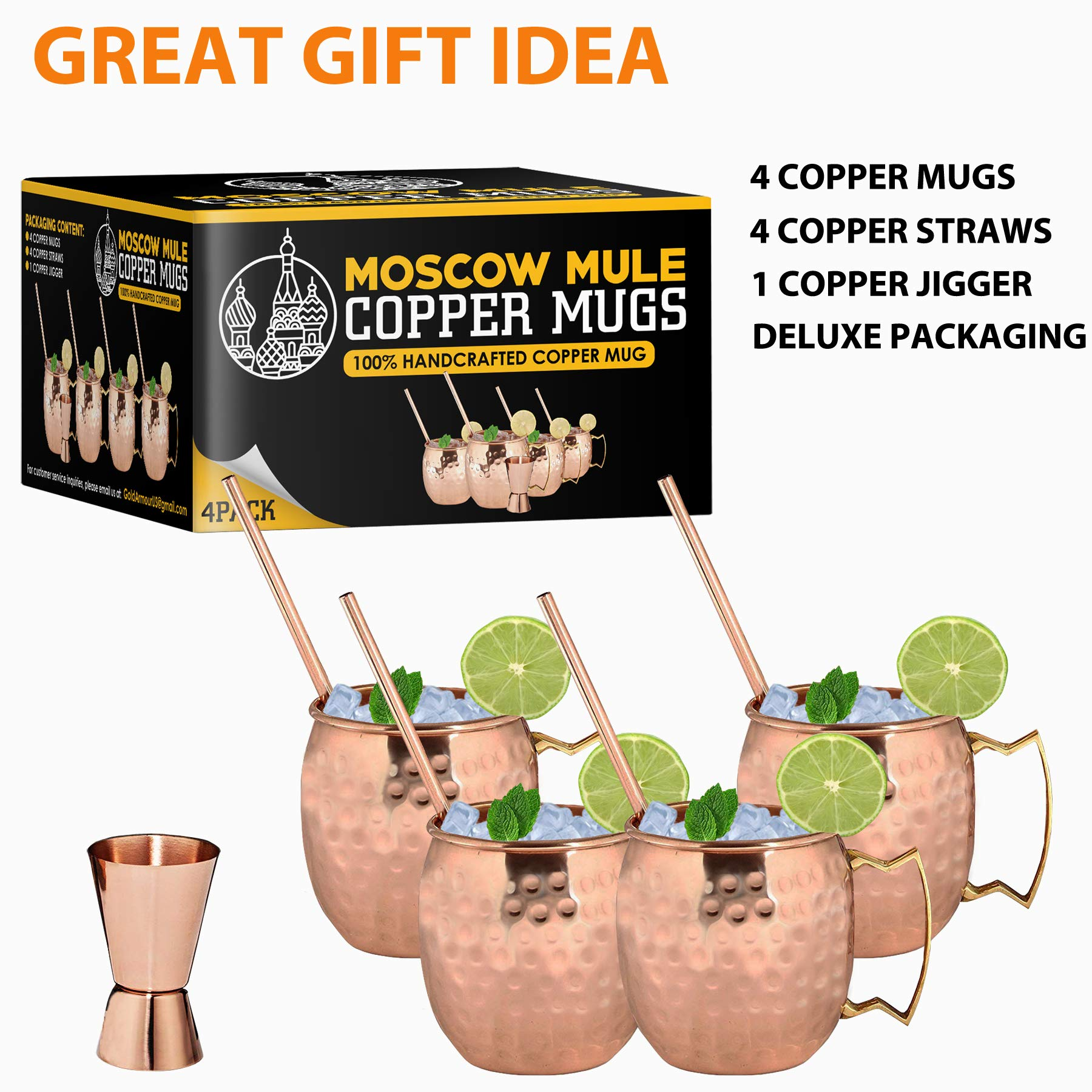 Moscow Mule Copper Mugs - Set of 4-100% HANDCRAFTED - Food Safe Pure Solid Copper Mugs - 16 oz Gift Set with BONUS: Highest Quality Cocktail Copper Straws and Jigger! (Copper) by Gold Armour (Image #6)