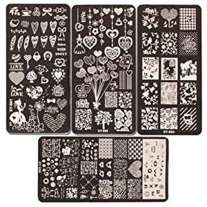 WOKOTO 4 Pcs Love Fashion Image Templates For Nail Art Stainless Steel Plates Stamping Plates Set For Valentine