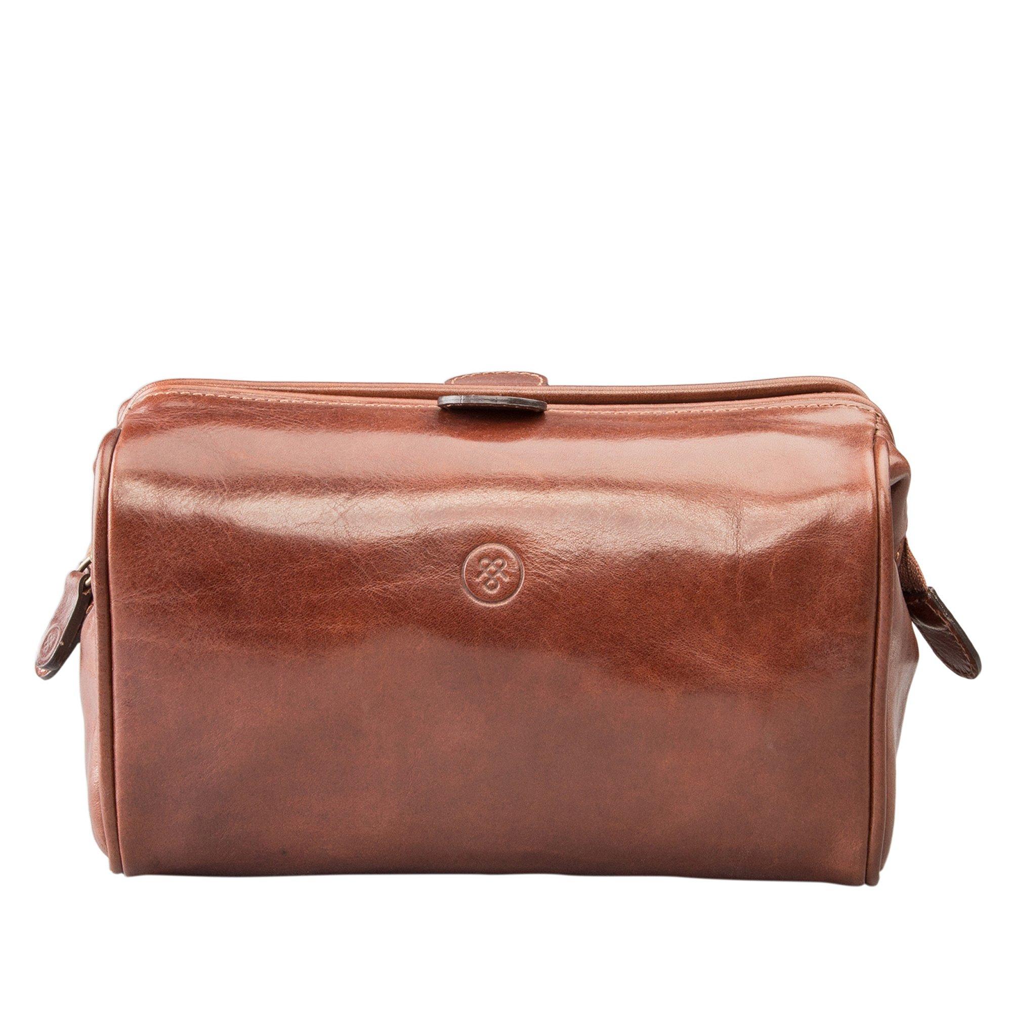 Maxwell Scott Personalized Luxury Tan Leather Soap Bag (The DunoM) - Medium