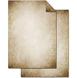 25 Blatt Briefpapier Druckerpapier beige creme-farben braun natur GESTREIFT ORNAMENT beidseitig bedruckt 100g Schreibpapier Motiv-Papier DIN A4 Brief-Bogen alt wirkend