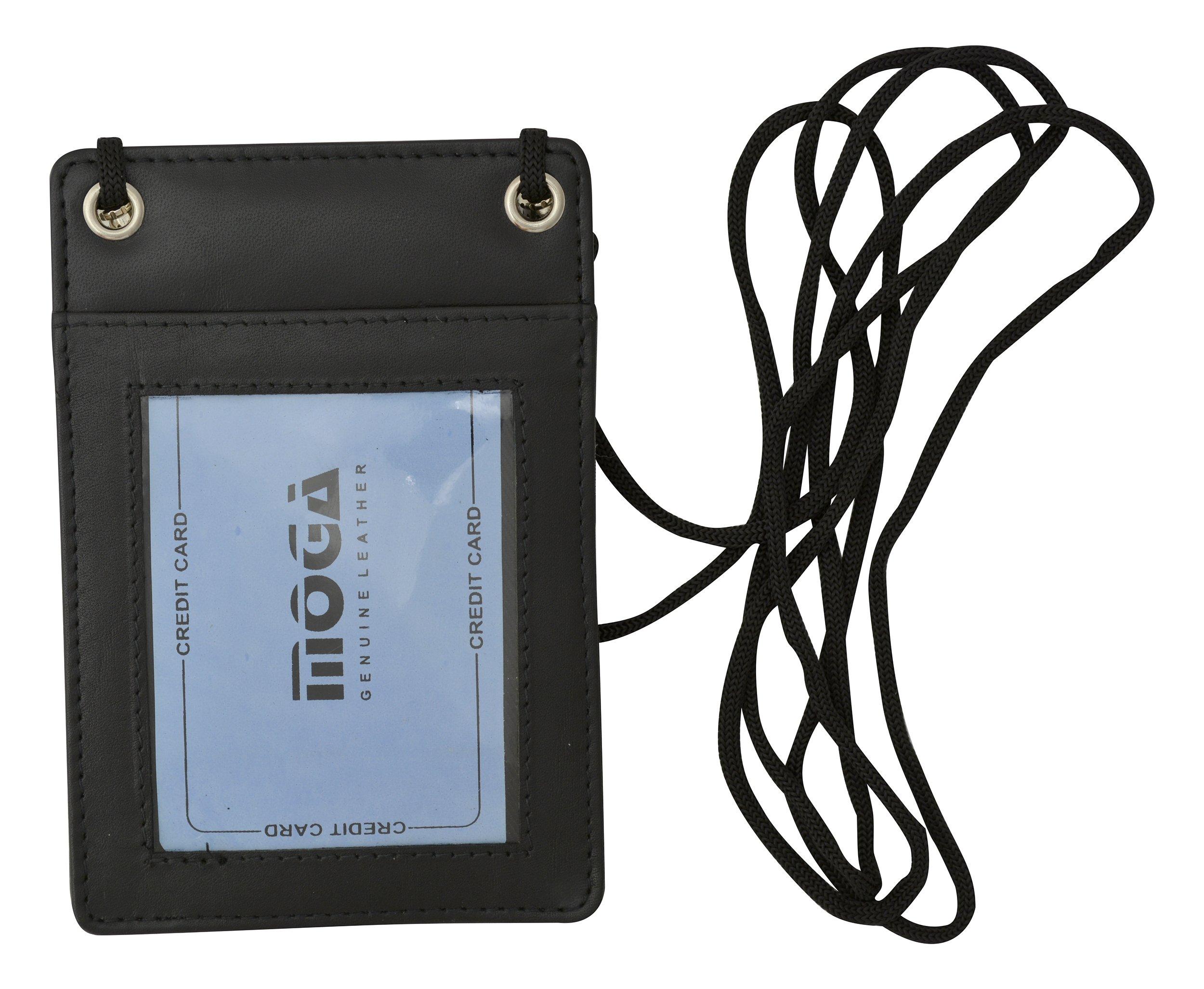 Moga Genuine High End Leather Neck Strap ID Badge Credit Card Holder Pouch Wallet (Black)