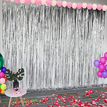 Amazon.com: Leegleri Cortina metálica con flecos para fotos ...