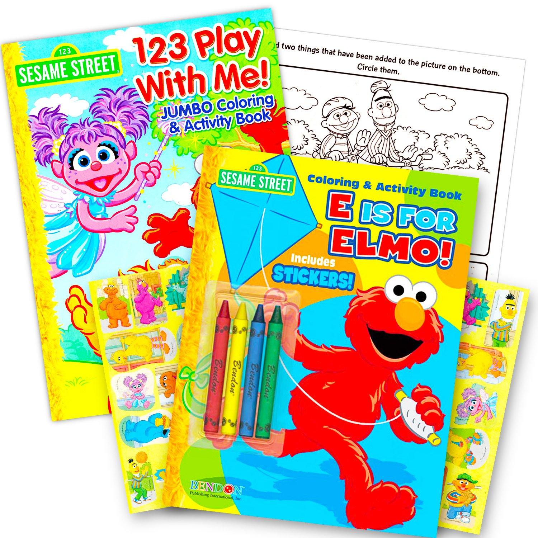 Sesame Street Coloring Book Super Set with Sesame Street Crayons ...