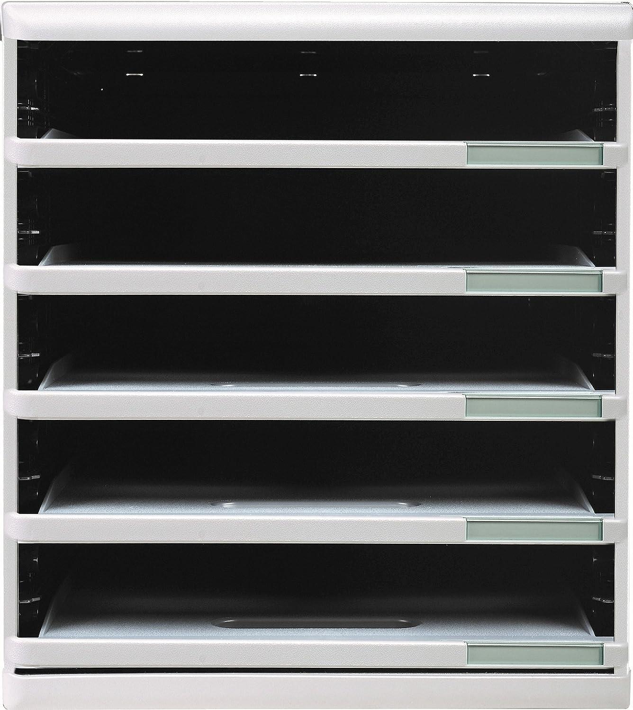 Exacompta 217207 - Sistema de archivado 5 cajones abiertos, color gris 303040D