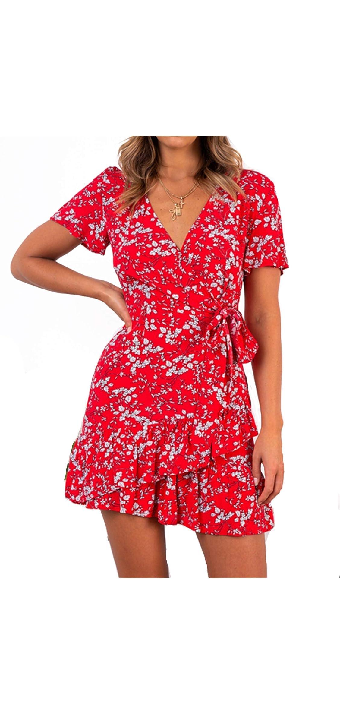 Summer Women Short Sleeve Print Dress V Neck Casual