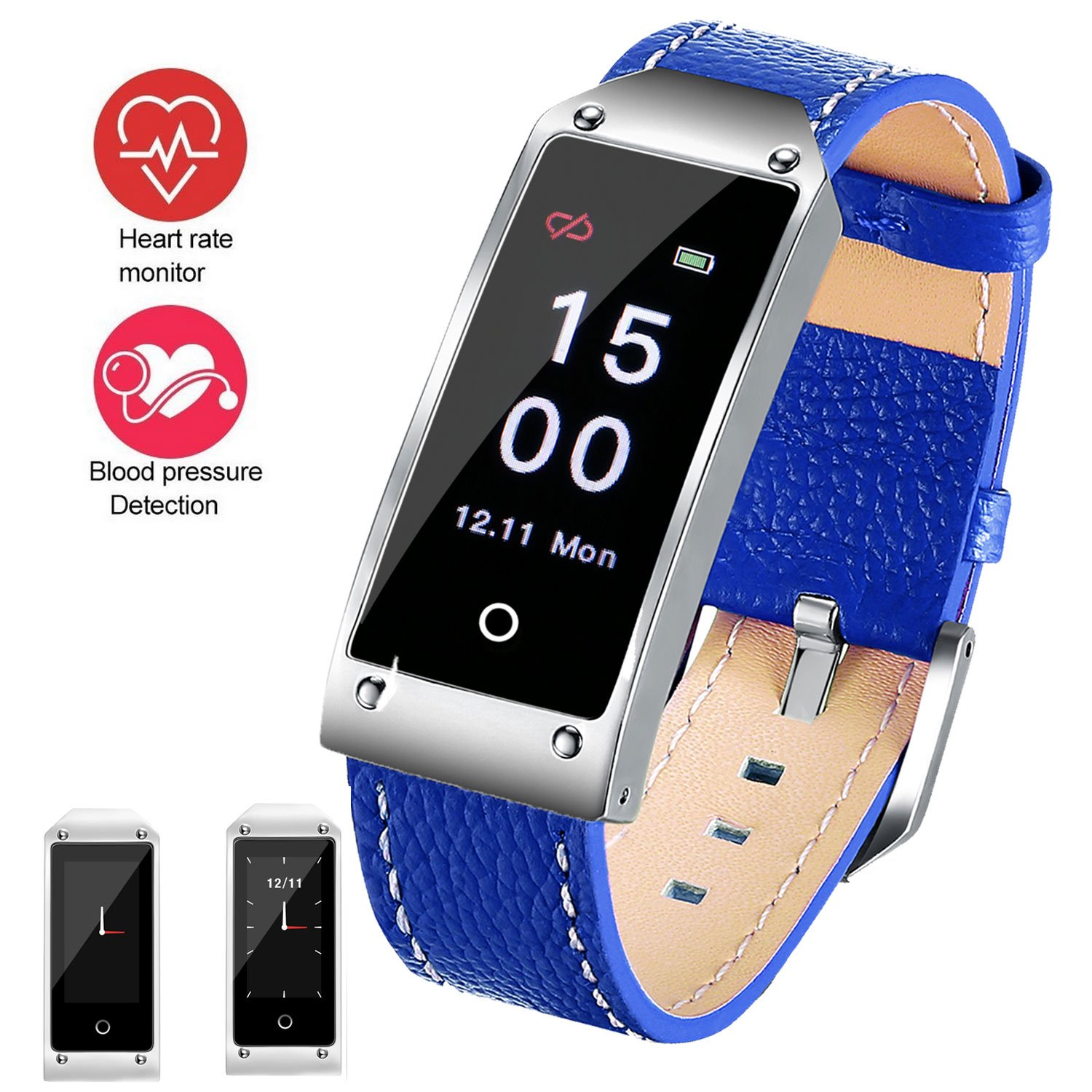 Fitness Tracker Smart Watch,Water Resistant with Heart Rate Monitor/Blood Pressure/Sleep Monitor/Pedometer/Timer/Intelligent Reminder with Soft Genuine Leather Band for Android or iOS Blue by feifuns