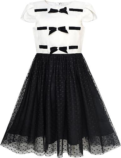 Vestido para niña Regreso a Clases Negro Blanco Corbata de moño ...