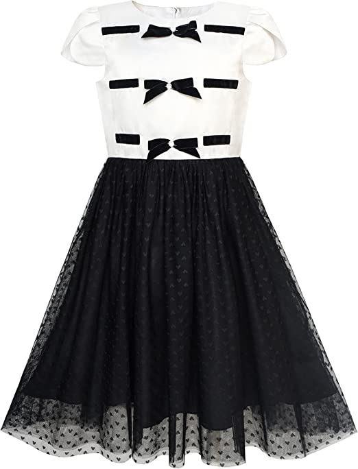 Sunny Fashion Vestido para niña Regreso a Clases Negro Blanco ...