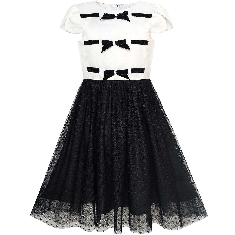 Sunny Fashion Girls Dress Back School Black White Bow Tie School Uniform