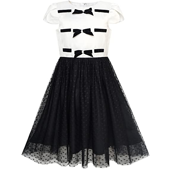 30c64b4b6f24e Sunny Fashion Girls Dress Back School Black White Bow Tie School ...