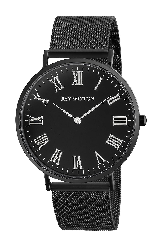 Ray Winton Slim Herren Analog schwarz Zifferblatt rÖmischen Ziffern Schwarz Edelstahl Mesh Band Armband Armbanduhr