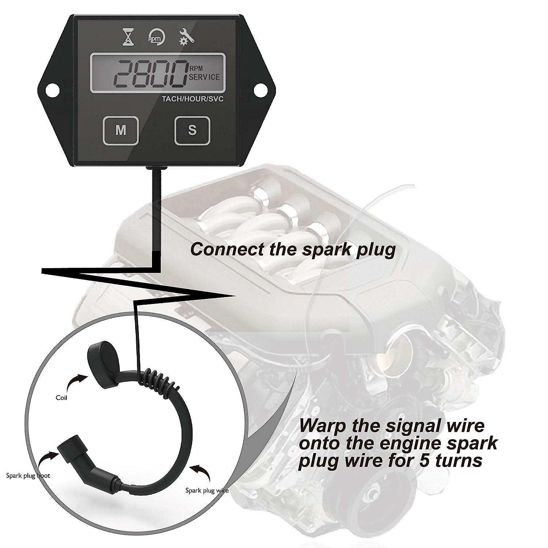 Runleader Self Powered Engine Digital Maintenance Tachometer Hour Meter for Lawn Mower Generator Dirtbike Motorcycle Outboard Marine Paramotors Snowmobile and Chainsaws