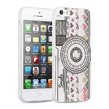 Funda iPhone 5/5s y iPhone SE Case, JAMMYLIZARD Funda Semi-Transparente Mate De Silicona Flexible Gel Sketch Back Cover, RETRO CÁMARA