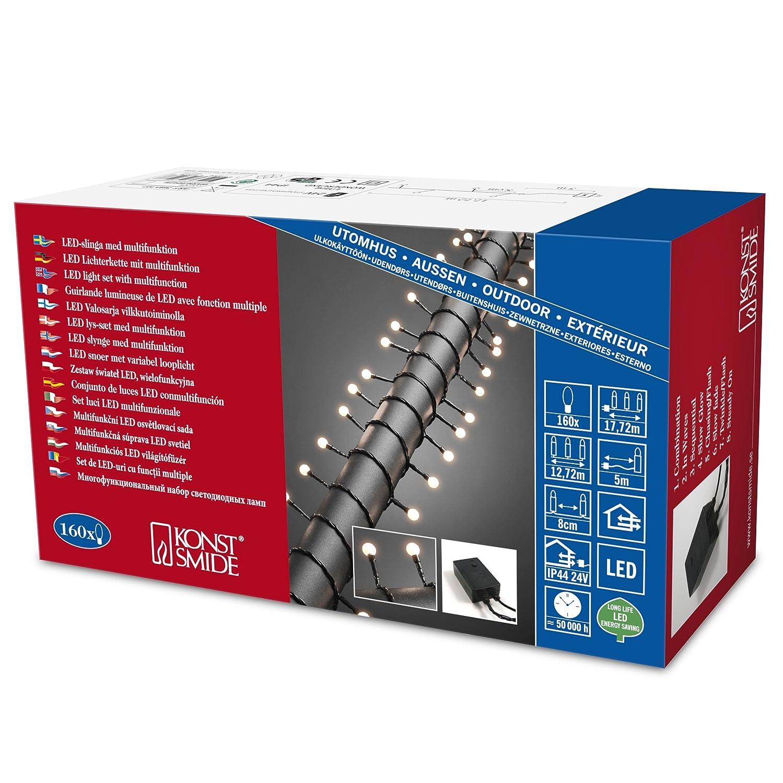 Konstsmide 3696-107 LED Globelichterkette mit gro/ßen runden Dioden 80 warm wei/ßen Dioden //  24V Au/ßentrafo IP44 schwarzes Kabel f/ür Au/ßen