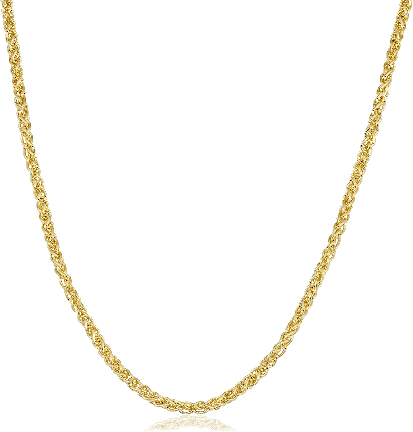 KoolJewelry 14k Yellow Gold Filled 2.5 mm Round Wheat Chain Necklace Unisex Jewelry for Men and Women