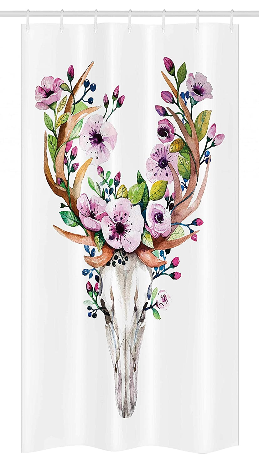 36 W x 72 L Inches Ambesonne Skull Stall Shower Curtain Deer Animal Skull with Floral Horns Nature Inspired Dead and Living Art Print Fabric Bathroom Decor Set with Hooks Cream Pink Brown