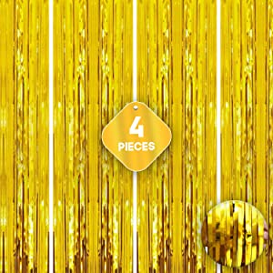 XtraLarge Gold Fringe Curtain Backdrop - 12.8x10 Feet | Pack of 4, Metallic Gold Streamer | Gold Foil Fringe Curtain for Birthday Decorations | Gold Tinsel Backdrop for Graduation Decorations 2021