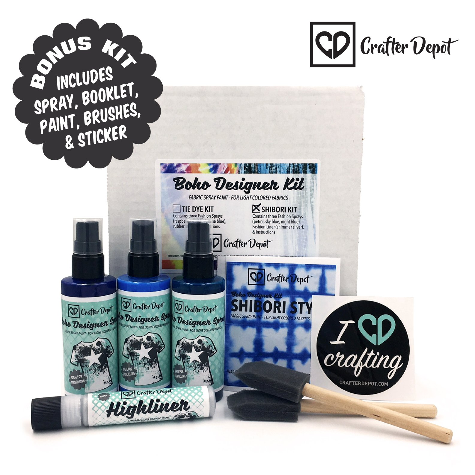 Tie Dye Kit Shibori Includes three different shades of Blue. Night Blue, Sky Blue and Petrol (3) 100 ML Bottles by Crafter Depot Rubber Bands Included