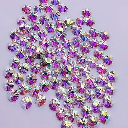 Amazon.com  Crystal AB   Crystal FlatBack Glass Rhinestones Glue Fix ... fc9243f79fc3