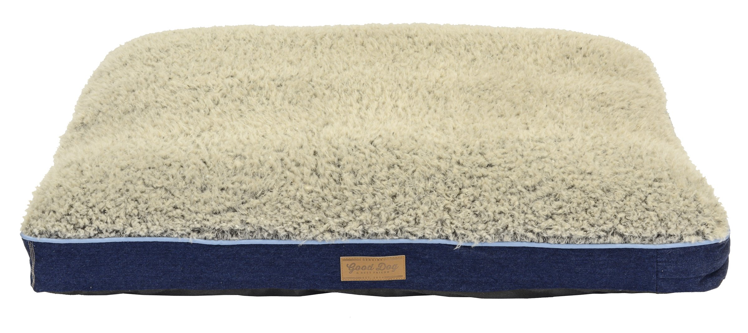Dallas Manufacturing Co. Large Dog Bed with Chipped Memory Foam by Good Dog & Best Friend   Machine Washable Bed in Denim with Non Skid Bottom