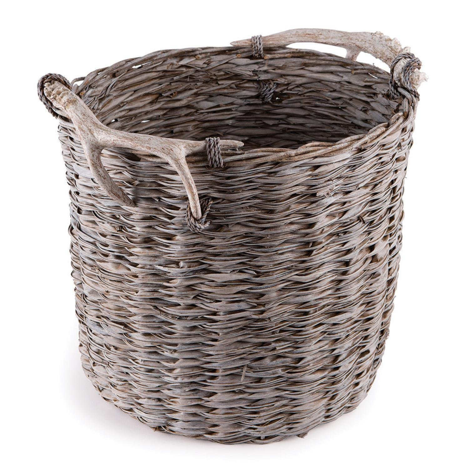 CC Home Furnishings Weathered Gray and Beige Faux Antler and Rope Wrapped Handle Handwoven Decorative Basket