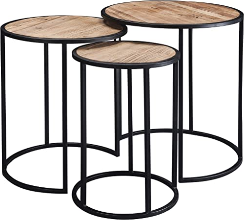 BIRDROCK HOME 3 PC Abaca Nesting Tables – Espresso Bed Sofa Snack End Table – Accent Side Table – Living Room – Hand-Woven