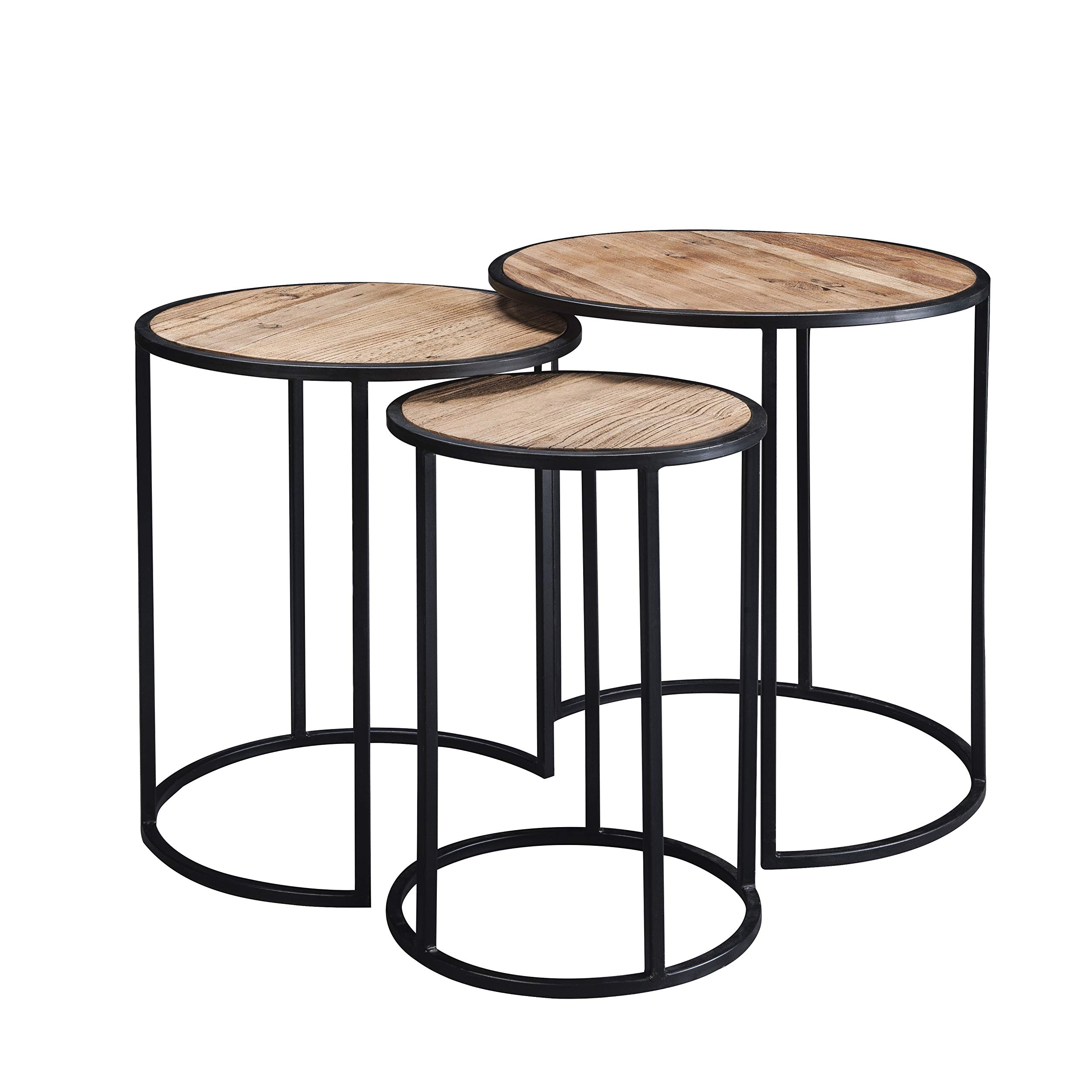 Knocbel 3-Piece Nesting Round Coffee Table Sets Living Room Side End Table with Wood Tabletop & Metal Frame (Wood) by Knocbel