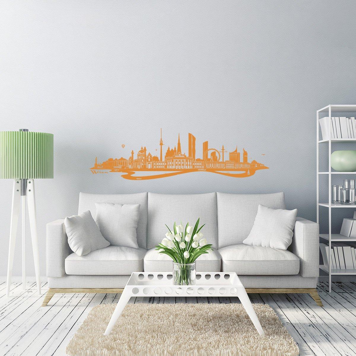 WANDKINGS Wandtattoo - Skyline Wien (mit Fluss) - 300 300 300 x 86 cm - Mittelgrau - Wähle aus 6 Größen & 35 Farben B078SF1HFB Wandtattoos & Wandbilder e9d0f0