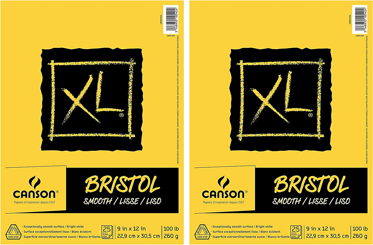 Canson XL Series Bristol Pad Smooth Finish 19 x 24 Inch 25 Sheets Bright White Fold Over Heavyweight Paper for Ink 100 Pound Marker or Pencil