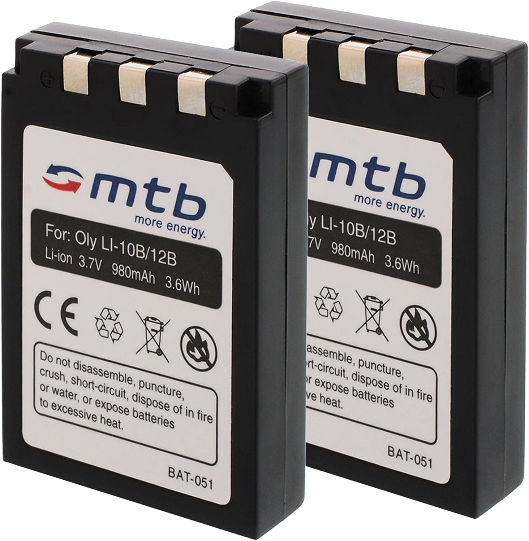 2X Baterías Li-10b/12b para Olympus C-470 Zoom, C-50 Zoom, C-5000 Zoom, C-60 Zoom