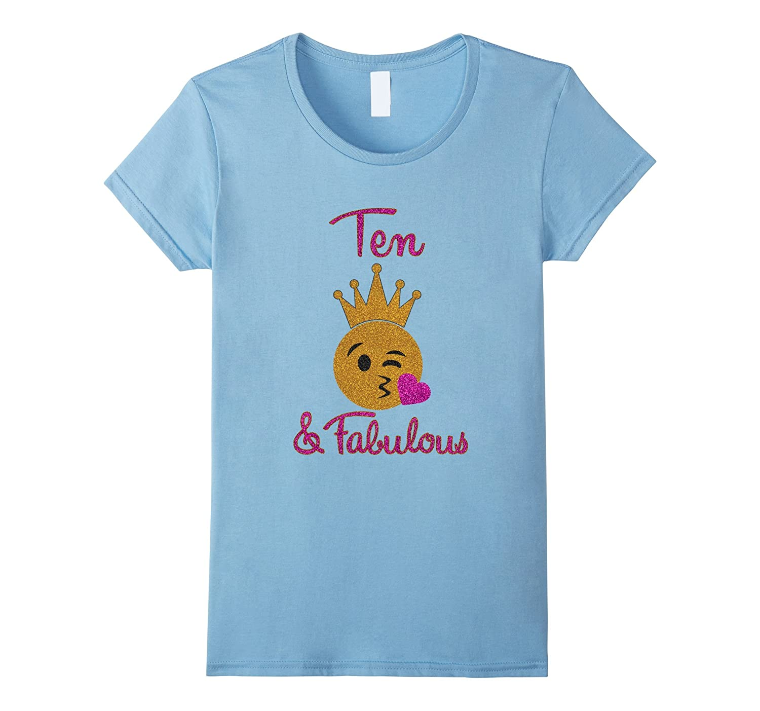 10th Birthday Girl Ten and Fabulous Emoji Shirt