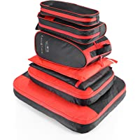 Aizbo 7 Set Waterproof Packing Cubes Travel Luggage Organisers Suitcase Storage Bags-2 Clothing Pouches + 2 Premium Bra Underwear Bag + 1 Travel Accessories Bag + 1 Toiletry Bags+1 Shoes Bag