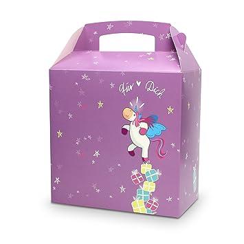 Unicornio Caja de Regalo con asa, por ejemplo para Navidad, Cumpleaños Infantil, como regalo: Amazon.es: Oficina y papelería
