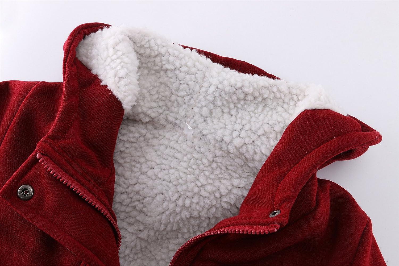 szivyshi Spessore Caldo Full Foderato di Pile Vello con Cappuccio Incappucciato Hoodie in Cotone Montgomery Cappotto Coat Jacket Giacca Giubbotto Top Tasca Buffalo Horn Zip
