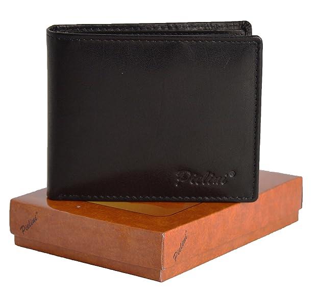 Pielini -Cartera de caballero en piel de vacuno mod 1704,con multiples departamentos, monedero con broche, negro: Amazon.es: Zapatos y complementos