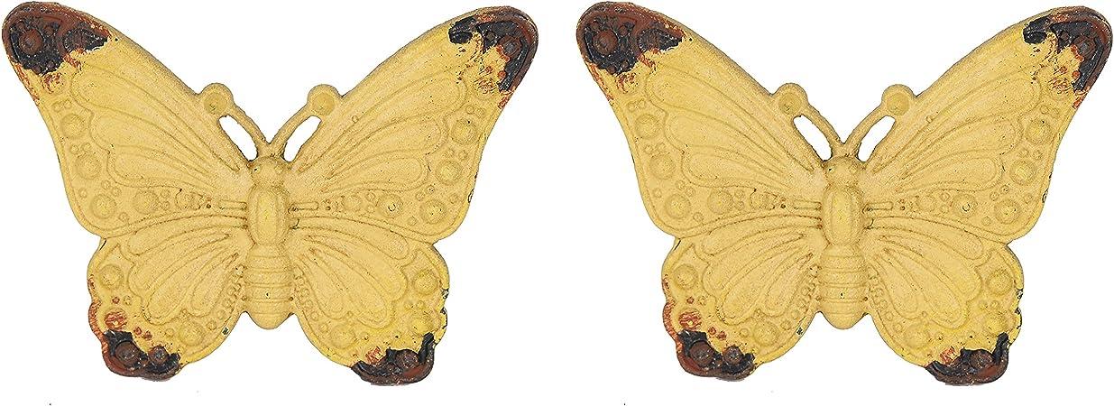 Oferta amazon: NIKKY HOME 2 Piezas Pomo y Tiradores Manija del Cajón Tirón Gabinete de Muebles Armario Forma de Mariposa Estilo Metal Decorativo Amarillo