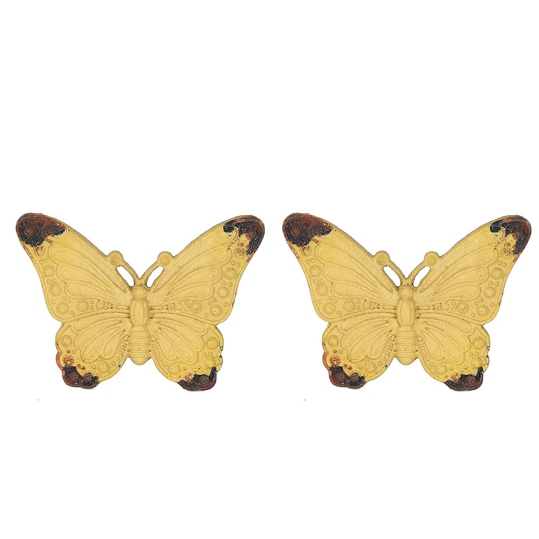 NIKKY HOME 2 St/ück T/ürgriffe aus Griff Schublade zieht M/öbel Schrank geformt von Schmetterling Vintage-Stil Dekorative Metall Gelb
