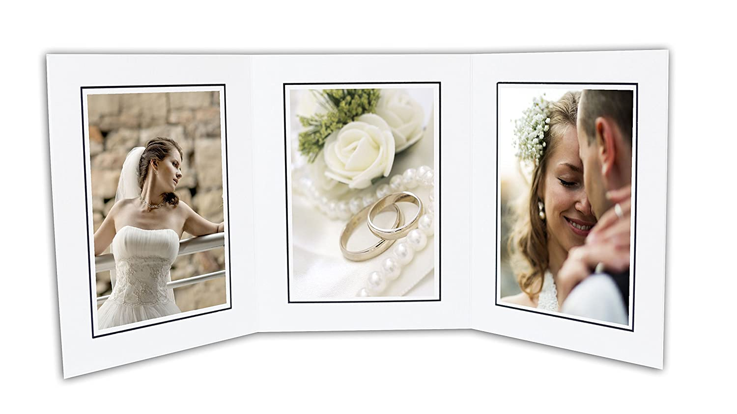 Golden State Art, Cardboard Photo Folder 3 5x7 Photo (Pack of 50) GS005 White Color
