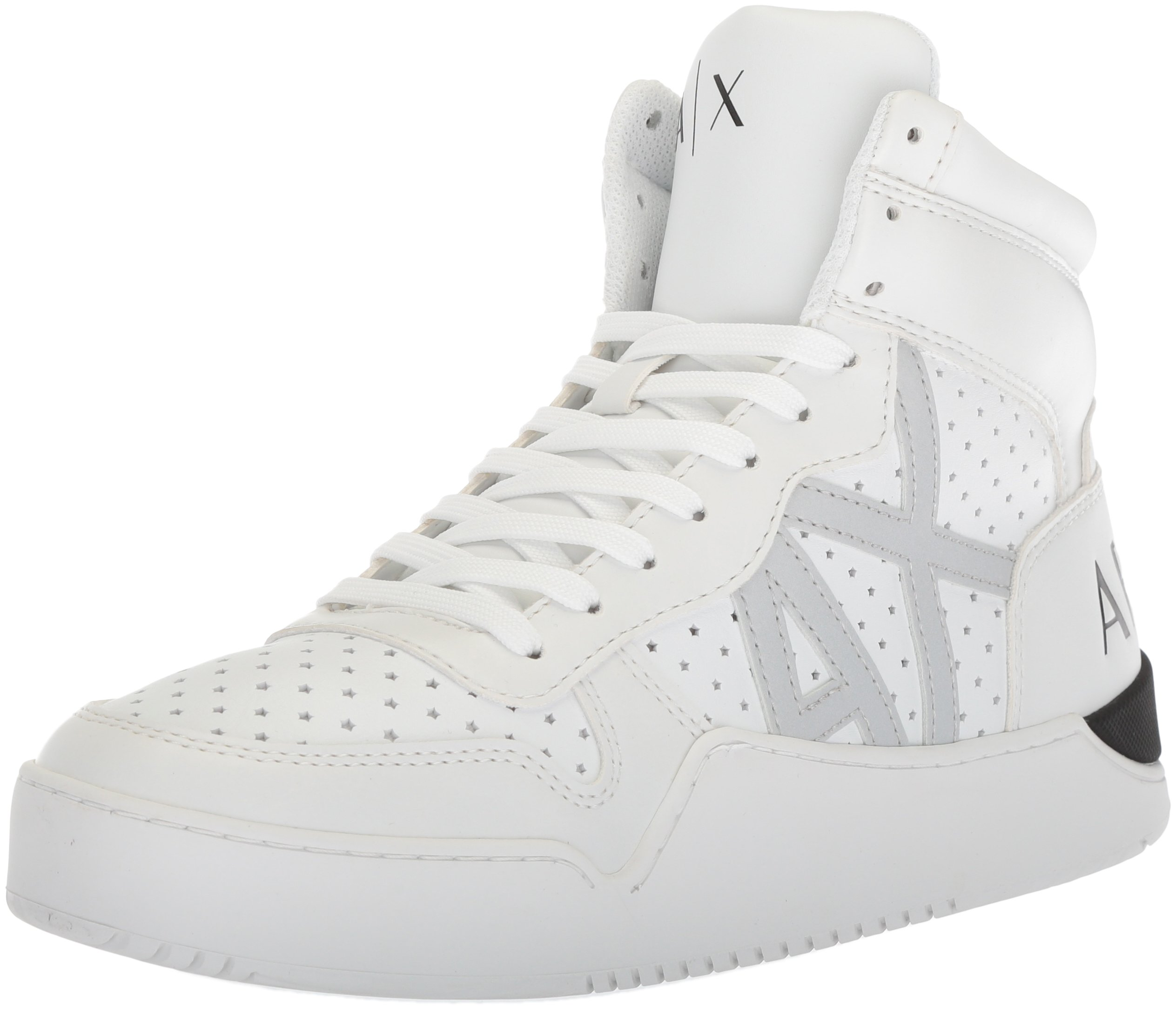 A|X Armani Exchange Men's High Top Perforated Lace up Sneaker, White, 9 Medium US