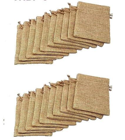 20pcs yute arpillera yute cordón bolsas sacos de almacenamiento Vintage bolsa de regalo para boda fiesta Navidad DIY Craft