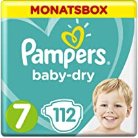 Pampers Baby-Dry Windeln, Gr.7, 15+ kg, Monatsbox, 1er Pack (1 x 112 Stück)