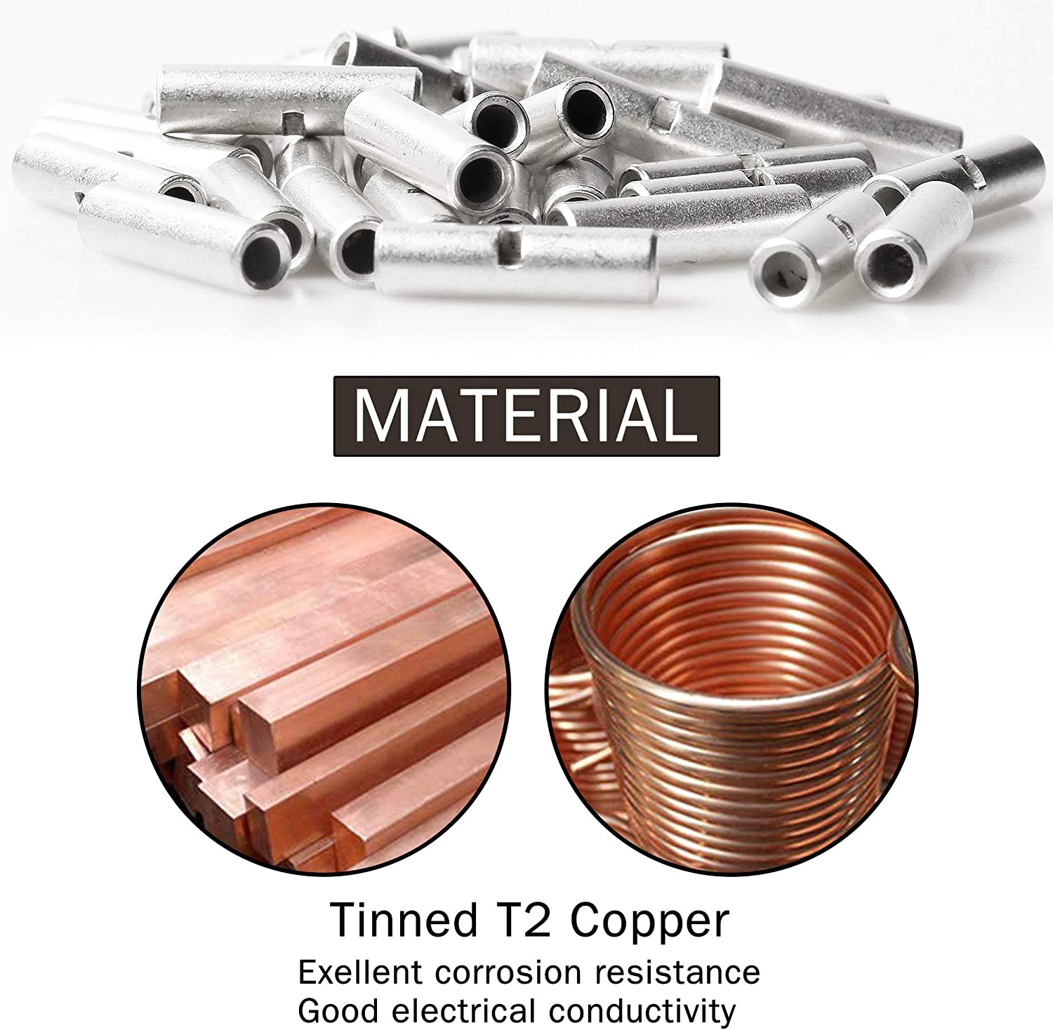 200pcs T2 Copper Non-Insulated Butt Connectors 22-18 16-14 12-10 AWG Gauge Thick Electrical Wire Connector Uninsulated Ferrule Cable Crimp Terminal Splice Kit with Storage Case for DIY by MILAPEAK