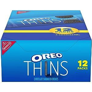 OREO Thins Chocolate Sandwich Cookies, 12 - 1.02 oz Snack Packs